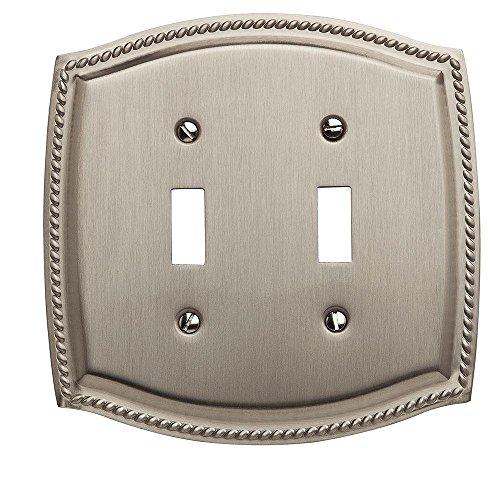 Baldwin 4790.150.CD Double Toggle Rope Design Switch Plate, Satin Nickel