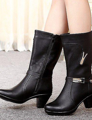 Moda Negro Robusto us7 Cn38 Cuero Casual Brown Xzz Botas Mujer Eu39 Cn39 Uk6 Black Uk5 La 5 De Exterior us8 Tacón Eu38 Marrón A 5 Zapatos RIxqF78
