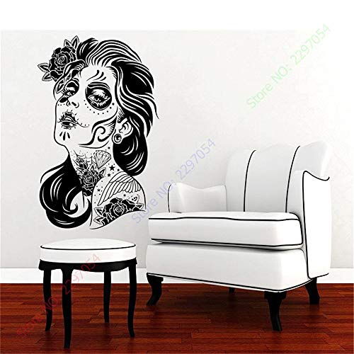 Vinyl Wall Sticker Decal Quote Home Decor Happy Halloween Skull Girl Face Hair Tattoo Salon Zombie Fashion Carving Sticker for Holiday Party]()