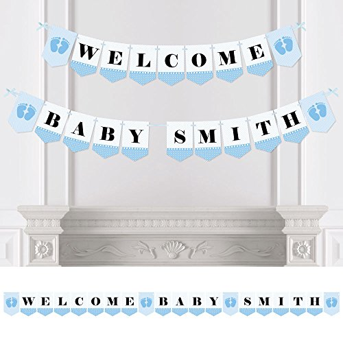 Big Dot of Happiness Custom Baby Feet Blue - Personalized Baby Shower Bunting Banner & Decorations - Welcome Baby Custom Name Banner]()