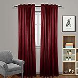 Eamior Luxury Blackout Velvet Curtain Panels - Super Soft Dutch Velvet Rod Pocket Window Treatment Drapes for Bedroom/Living Room (Set of 2, 108 inch Length, Burgundy)