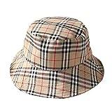 ChezAbbey Flat Top Breathable Bucket Hats Wear Sun Protection Plaid Fisherman Caps Khaki