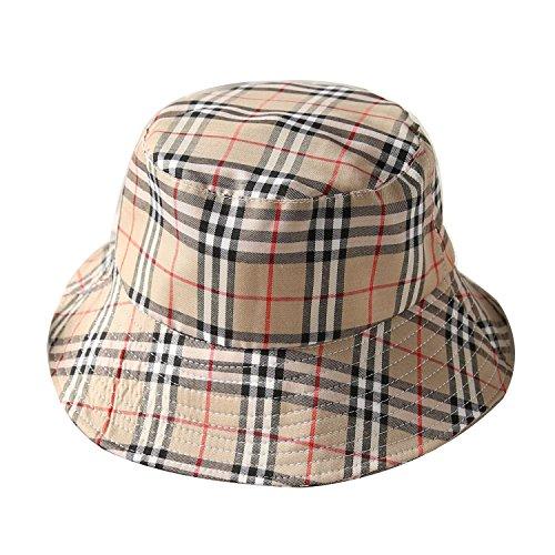 ChezAbbey Flat Top Breathable Bucket Hats Wear Sun Protection Plaid Fisherman Caps Khaki ()