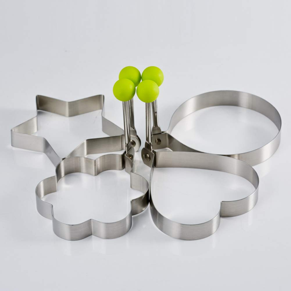 Fried Egg Mould, 4pcs Stainless Steel Non-Stick Egg Rings Cooking Pancake Omelets Mold Kitchen Tool-Silver