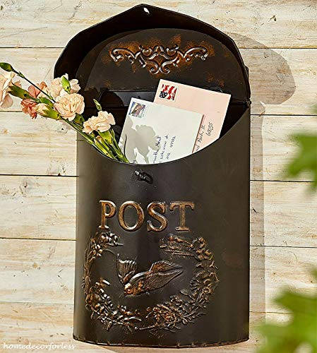 Top_Quality555 Black Metal Rustic Mailbox and Post Wall Mount Vintage Look Box Distressed Decor
