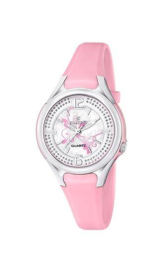 Calypso - Reloj de cuarzo para mujer con correa de plástico de plata esfera analógica pantalla y Rosa k5575/2: Amazon.es: Relojes