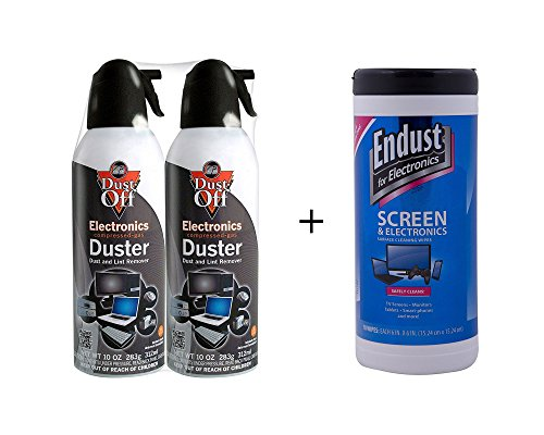 Dust-Off Disposable Compressed Gas Duster Bundle: 2 Packs 10 oz. Cans + 70 Count (Dust Free Duster)