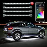 "16pc 12"" Tube Under Glow XKchrome App Control Under Car LED Accent Light Kit Millions of Colors Patterns Dual Zone Music Sync Smart Brake Feature"