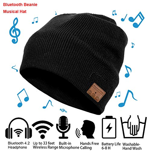 aBrilliantLife Christmas Bluetooth Beanie Winter Hat Running Headphones Wireless Musical Knit Cap with Stereo Headsets Unique Thick Warm hat for Women, Men, Boys and Girls (Black)