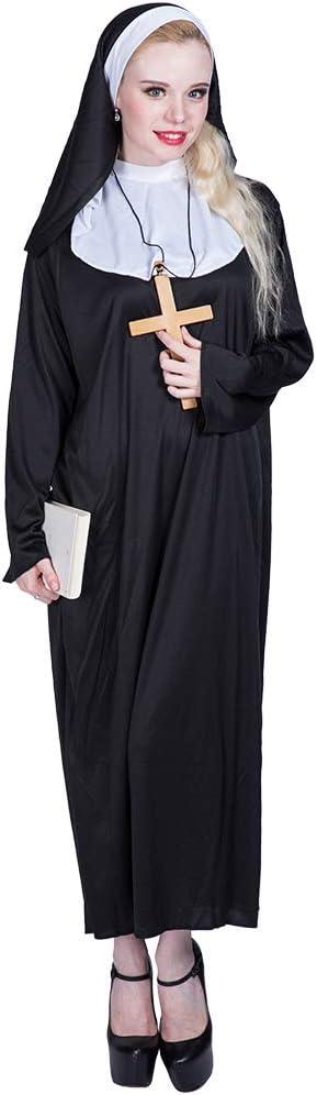 EraSpooky Disfraz de Monja de Mujer Cosplay Disfraz de Fiesta de Halloween para Adulto