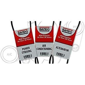BANDO tacoma April 1997 on through 2002 2 7L FOUR CYLINDER Alternator-Air  Conditioner-Power Steering Belt Set(3 belts)BANDO 4PK870 5PK865 4PK1110