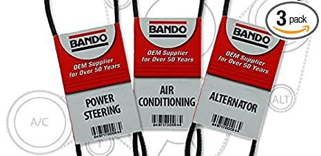 bando 3 piece serpentine drive belt set kit compatible with a spectra kia  spectra 5 2 0