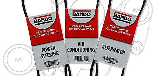 BANDO Toyota Tacoma 3.4L V6 1995-2004 Toyota T100 V6 1995-1998 Toyota 4runner 1996-2002 V6 Toyota Tundra 2000-2004 V6 Alternator-Air Conditioner-Power Steering Belt Set(3 belts) 4PK870 4PK1050 4PK1070