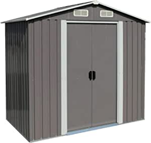 Outdoor Sheds 6' x 4' Outdoor Steel Storage Shed Grey with Sliding Door