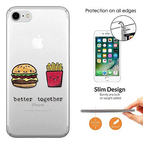"c01246 - Best Friend Better Together Quote Fries Burger Design iphone 7 4.7"" Fashion Trend Leichtgewicht Hülle Ultra Slim 0.3MM Kunststoff Kanten und Rückseite Protection Hülle - Clear"