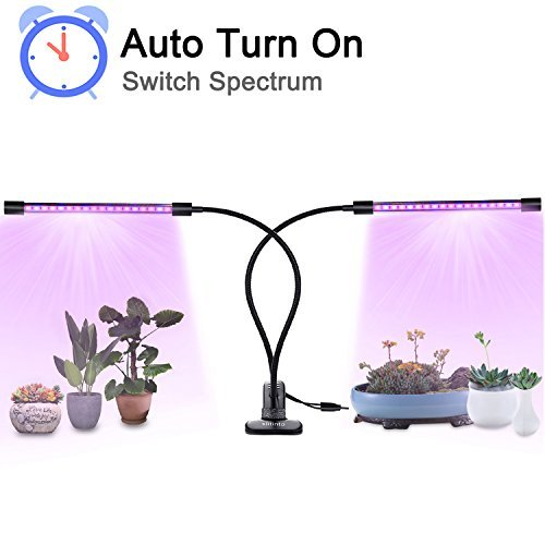 18W Plant Grow Light with Auto Turn On Function, slitinto Dual Head 36LED 5 Dimmable Levels Grow Lamp Bulbs, 3/9/12H Timer, Spectrum Switching, Adjustable Gooseneck for Indoor Plants[2018 Upgraded]