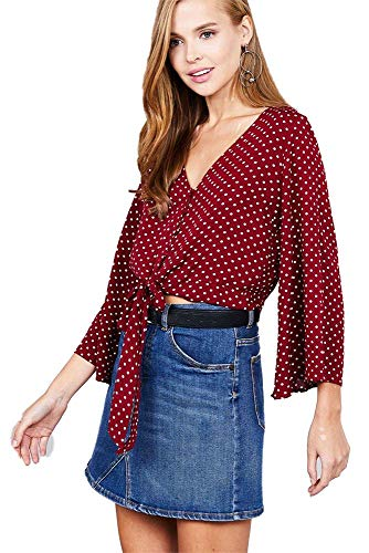 (Ladies Fashion Plus Size 3/4 Bell Sleeve v-Neck w/Button Front tie Detail dot Printed Crinkle Gauze Woven top)