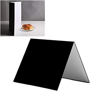 Meking 3 in 1 Photography Reflector Cardboard, 17 x 12 inch Folding Light Diffuser Board for Still Life, Product and Food Photo Shooting - Black, Silver and White