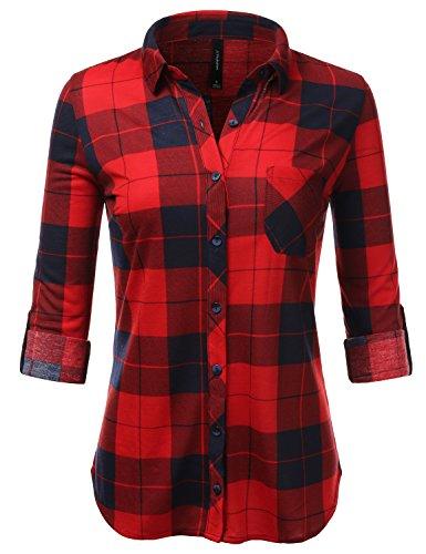 JJ Perfection Womens Long Sleeve Turn-Down Collar Button Down Plaid Flannel Shirt NAVYRED M