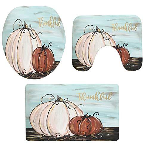 3PCS Halloween Pumpkin Print Bathroom Non-Slip Pedestal Rug