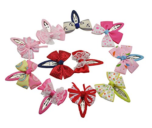 Generic Little Girls' Ribbon Bow Snap Clips Barrettes 12 Styles Mixed Design(Pack Of 12) Size:2.5