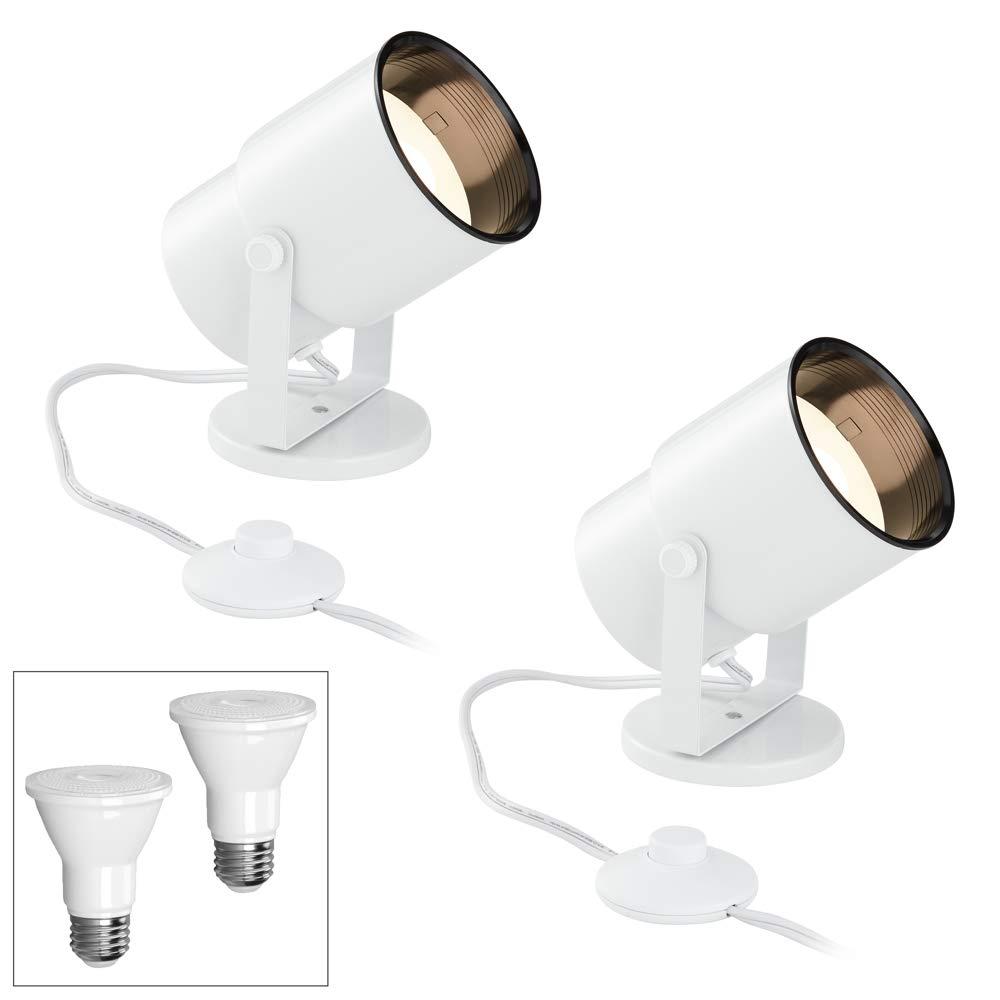Cord-n-Plug White 2700K LED Accent Uplight Set of 2