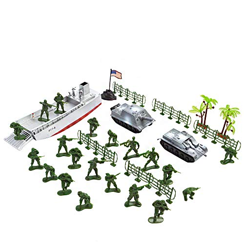 EASYWAY Landing Craft Toy and Tanks with Green Army Men for Boys Present]()