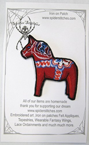 - Cute Dala Horse Iron on Patch Applique embroidered Dalarna Sweden