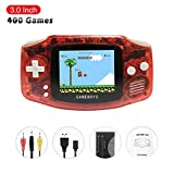 FAITHPRO Retro FC Handheld Game Console with Built in 400 Games, 3 Inch Screen USB Charger Supports TV Output Video Game Console for Kids and Adults (Single Red)