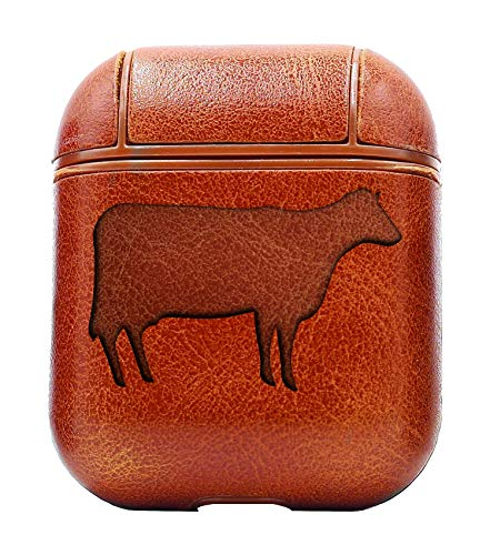 Cow Silhouettes 1 (Vintage Brown) Air Pods Protective Leather Case Cover - a New Class of Luxury to Your AirPods - Premium PU Leather and Handmade exquisitely by Master Craftsmen
