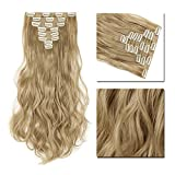 Clip in Hair Extensions Synthetic Full Head Charming Hairpieces Thick Long Straight 8pcs 18clips for Women Girls Lady (17 inches-wavy, ash blonde)