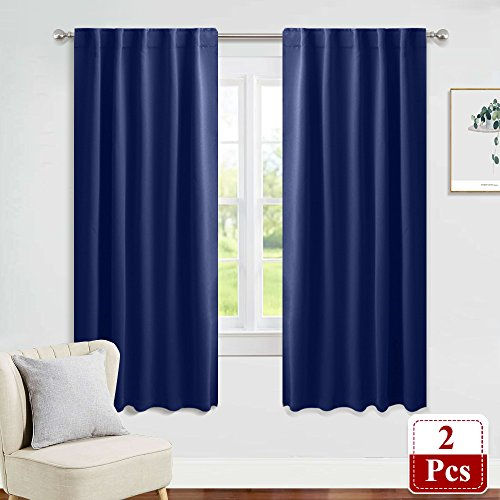PONY DANCE Navy Curtain Panels - Kids' Room Blackout Drapes Rod Pocket Curtains Thermal Insulated Window Coverings 6 Back Loops/Room Darkening Privacy Protect, 42