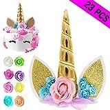 Unicorn Cake Topper, Reusable Unicorn Horn & Ears & Eyelashes and Flowers, Unicorn Party Cake Decoration for Birthday Party, Wedding, Baby Shower