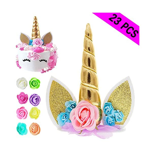 Unicorn Cake Topper, Reusable Unicorn Horn & Ears & Eyelashes and Flowers, Unicorn Party Cake Decoration for Birthday… 3