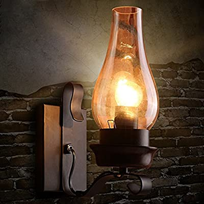 BAYCHEER HL410762 Industrial Vintage 12'' H 1-Light Frosted Glass wall sconces Wall Light Lamp with Urn shade use 1 E26 Bulb in Black