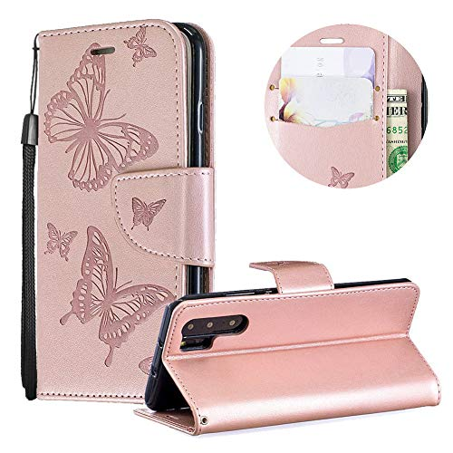 Huawei P30 Pro Case,PU Leather Wallet Case for Huawei P30 Pro,Moiky Luxury Rose Gold Butterfly Pattern Print Embossed Soft Leather Purse Flip Magnetic Stand Shockproof Case Cover with Card Slots - Inner Embossed Lip Gold