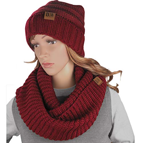 Knit Infinity Loop Scarf And Beanie Hat Set, Warm For The Winter Burgundy By Debra Weitzner (Outfit Turtle Crocheted)