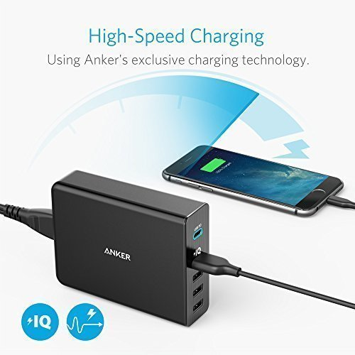 Anker USB Type-C PD Charger, Premium 5-Port 60W Wall Charger with One 30W Power Delivery PowerPort+ USB-C for MacBook, iPhone X /8/8 Plus, Nexus 5X / 6P, PowerIQ for iPhone, iPad, Samsung, and More by Anker (Image #3)