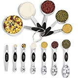 Measuring Cups and Measuring Spoons Set - Wildone Stainless Steel Cups and Magnetic Measuring Spoons Set of 12, for Dry and Liquid Ingredients, including 5 Nesting Cups, 6 Spoons and 1 Leveler