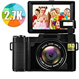 Digital Camera 2.7k 24MP Ultra HD Vlogging Cameras Camcorders for YouTube 3.0 Inch 180 Degree Rotation Flip Screen with Retractable Flash Light