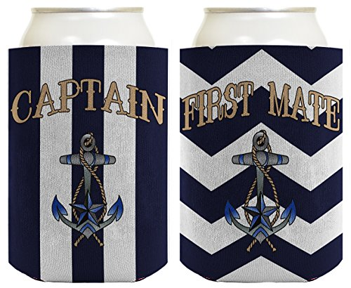 Captain Hat Yacht Cap Funny Coolie Captain and First Mate Chevron Can Coolie Bundle Chevron Navy by ThisWear (Image #2)