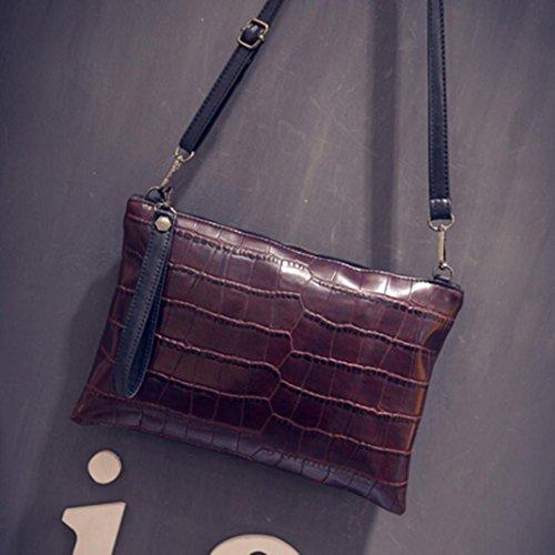 Fulltime Bag Shoulder Messenger Women Body TM Cross Brown Leather Zipper Handbag 6prU67wSq