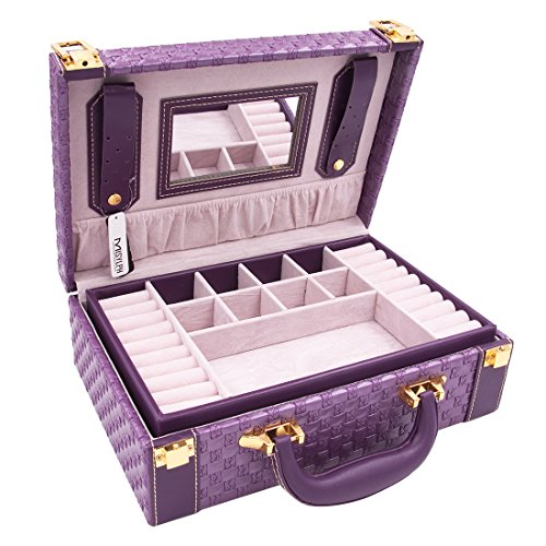 MISYLPH Multifunctional Two-Layer Woven Leather Jewelry Box Organizer with Handle-Purple