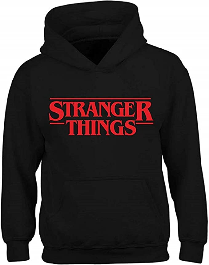 Icustomworld Stranger Things Ride Bike Hoodie Netflix Series Hooded Sweatshirt (X-Large Kids (14yrs-16yrs), Black)