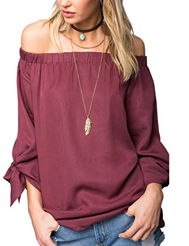 just quella Women's Off Shoulder Loose Shirt Blouse 8422 (XL, Cameo Brown)