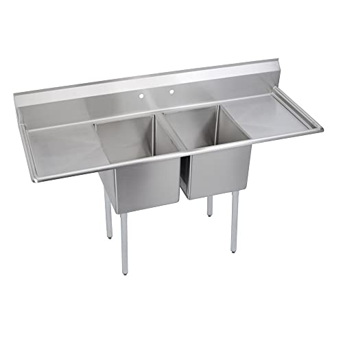 Deluxe 2-Compartment Sink, 24 Left Right drainboards
