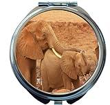 Rikki Knight Cute Elephants Design Round Compact Mirror