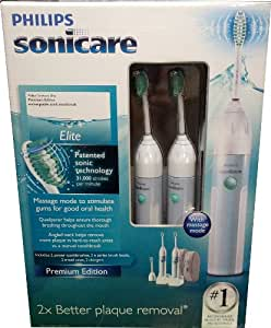 Philips Sonicare Essence Premium Edition 2 Sets - Rechargeable Sonic Toothbrush (2 Handles with Quadpacer, 2 Charger Bases, 3 Standard Brush Heads)