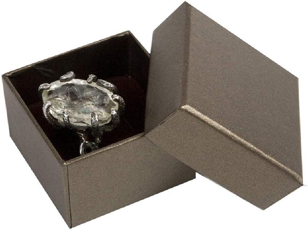 Boxpack 24 Cajas Estuches de cartón para Anillo 51x51x35 mm. Interior de Espuma Aterciopelada Blanca y Marron (Reversible) para coplar el Anillo: Amazon.es: Joyería