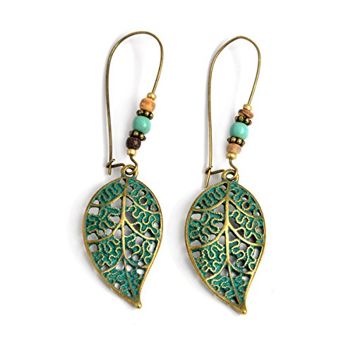 QIHOO Vintage Green bronze Engraving Dangle Hook Earrings for Women and Girls - Bronze And Green